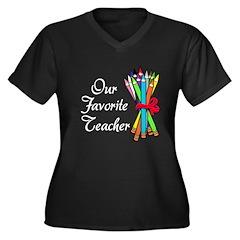 Our Favorite Teacher Women's Plus Size V-Neck Dark