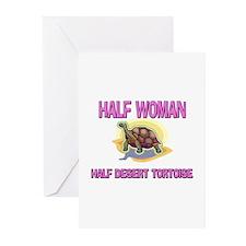 Half Woman Half Desert Tortoise Greeting Cards (Pk