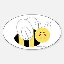 Cute Bee Oval Decal