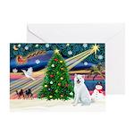 Xmas Magic & Akita Greeting Card