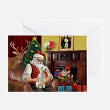 Santa's Bedlington Greeting Card