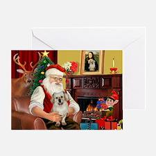 Santa/Tibetan Spaniel Greeting Card
