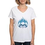 Blazing Blue Skulls Women's V-Neck T-Shirt