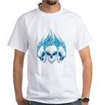 Blazing Blue Skulls White T-Shirt