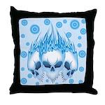 Blazing Blue Skulls Throw Pillow