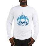 Blazing Blue Skulls Long Sleeve T-Shirt