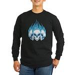 Blazing Blue Skulls Long Sleeve Dark T-Shirt
