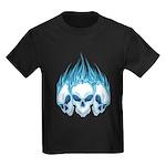Blazing Blue Skulls Kids Dark T-Shirt
