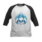 Blazing Blue Skulls Kids Baseball Jersey