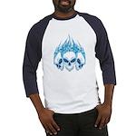 Blazing Blue Skulls Baseball Jersey