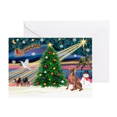 XmasMagic/Weimaraner 4 Greeting Card