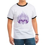 Blazing Purple Skulls Ringer T