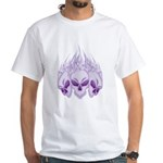 Blazing Purple Skulls White T-Shirt