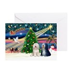 XmasMagic/TibetanTerriers Greeting Cards(Pk of 10)