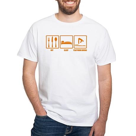 Eat Sleep Platform Diving White T-Shirt