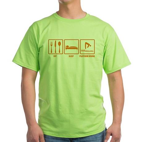 Eat Sleep Platform Diving Green T-Shirt