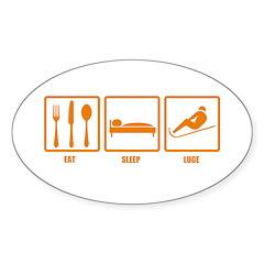 Eat Sleep Luge Oval Decal