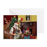 Santa/Norwegian Elkhound Greeting Card