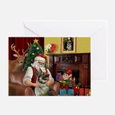 Santa/Norwegian Elkhound Greeting Card