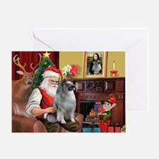Santa/Keeshond Greeting Card