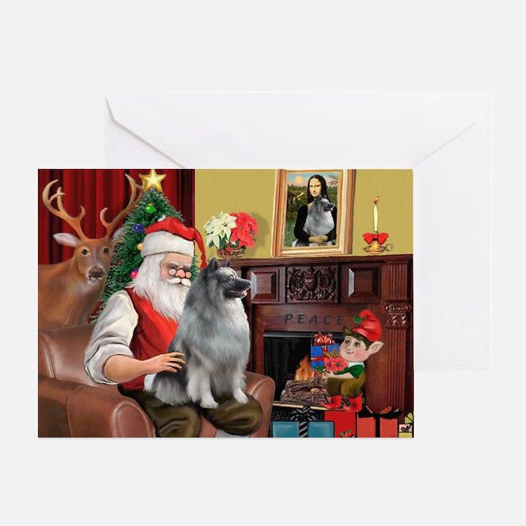 Santa/Keeshond Greeting Card