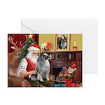 Santa/Keeshond Greeting Cards (Pk of 10)