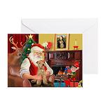 Santa/Lakeland Terrier Greeting Card