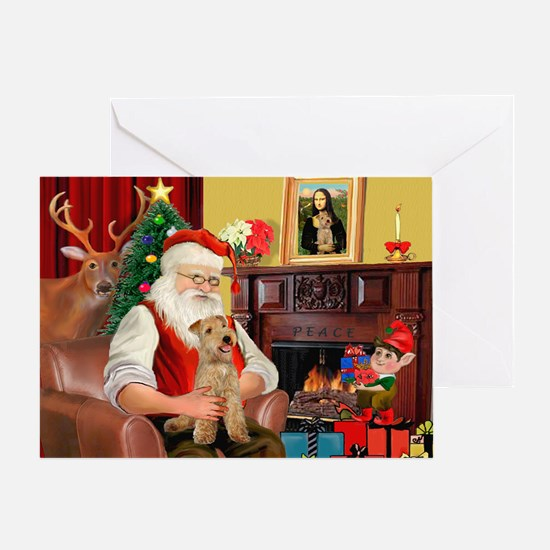 Santa/Lakeland Terrier Greeting Card