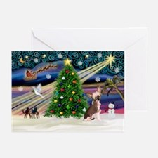 XmasSunrise/4 Cavaliers Greeting Cards (Pk of 20)