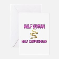 Half Woman Half Copperhead Greeting Cards (Pk of 1