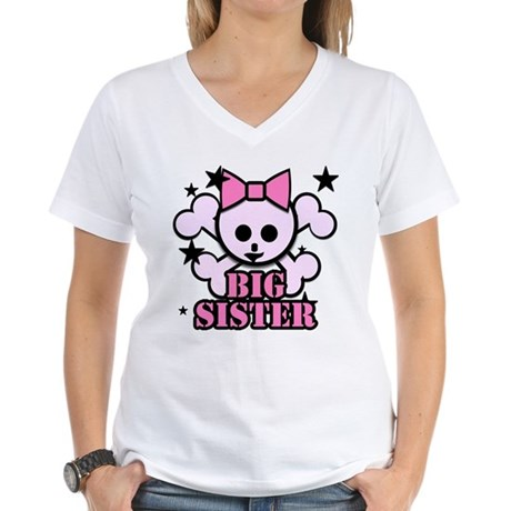 Pink bow skull big sister Women's V-Neck T-Shirt