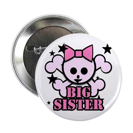 """Pink bow skull big sister 2.25"""" Button"""