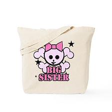 Pink bow skull big sister Tote Bag