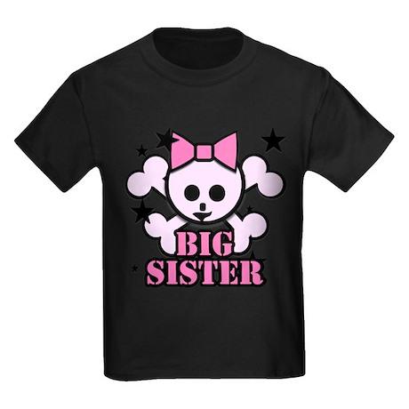 Pink bow skull big sister Kids Dark T-Shirt