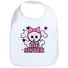 Pink bow skull big sister Bib