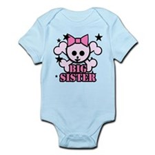 Pink bow skull big sister Infant Bodysuit