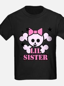 pink bow skull little sister T
