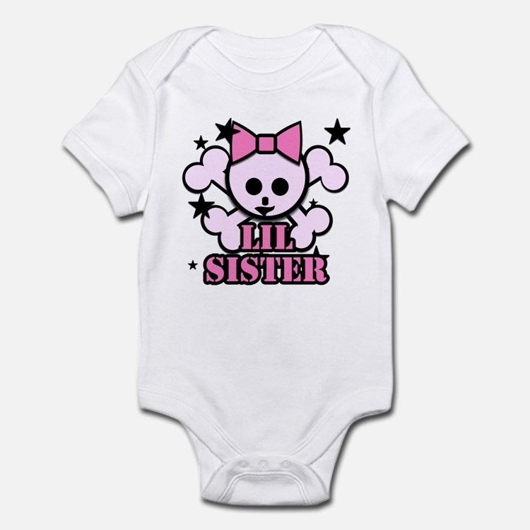 pink bow skull little sister Infant Bodysuit