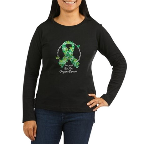 Organ Donor Butterfly Ribbon Women's Long Sleeve D