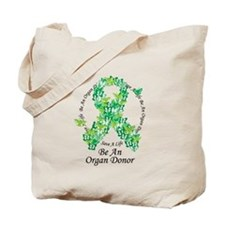 Organ Donor Butterfly Ribbon Tote Bag