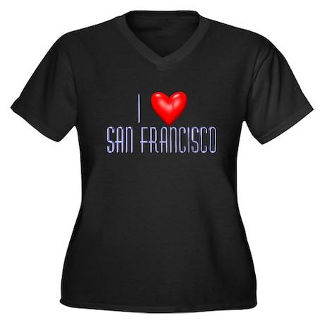 I Love San Francisco Women's Plus Size V-Neck Dark