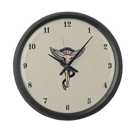 Artistic Chiropractic Emblem Large Wall Clock
