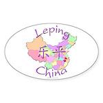 Leping China Map Oval Sticker (10 pk)