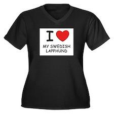 I love MY SWEDISH LAPPHUND Women's Plus Size V-Nec