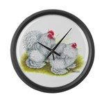 White Frizzle Cochins Giant Clock