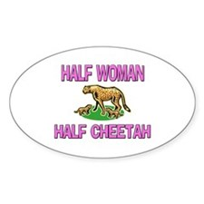 Half Woman Half Cheetah Oval Decal