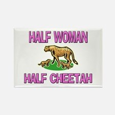 Half Woman Half Cheetah Rectangle Magnet