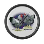 Silver Wyandotte Chickens Giant Clock