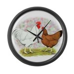 White Red Chickens Giant Clock