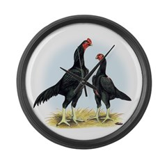 Shamo Rooster and Hen Giant Clock